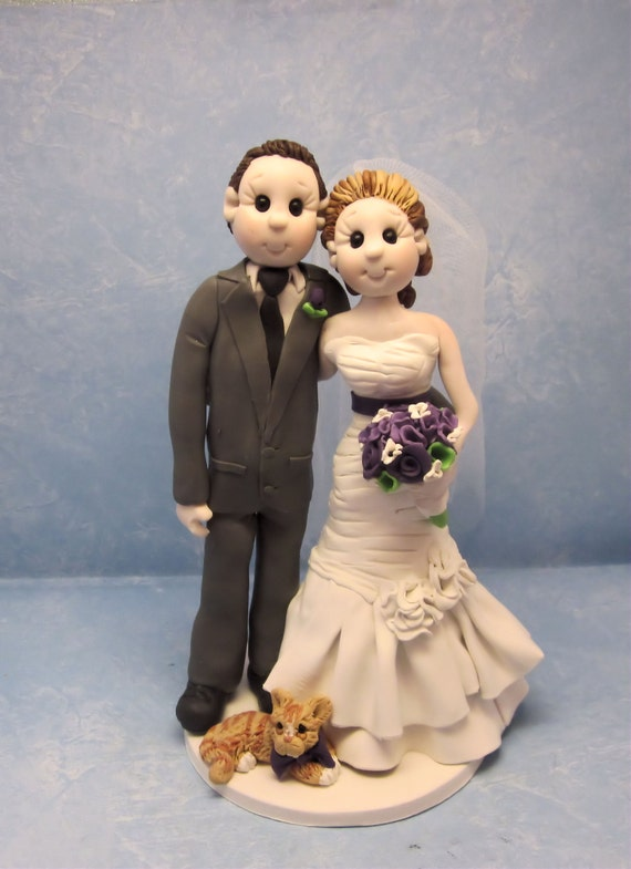 cat bride and groom wedding cake topper and groom with cat wedding cake topper custom wedding 12452