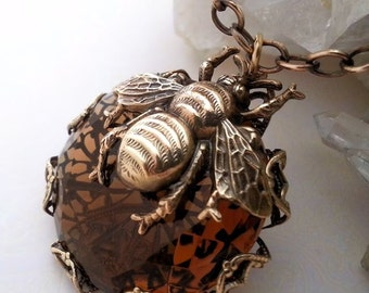 Queen Honey Bee Necklace, bee pendant necklace,  filigree necklace, statement necklace, bee jewelry, Victorian style brass necklace, topaz