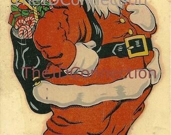 Vintage 1950's Santa Decal, Chris Kringle, Saint Nick, Santa Claus, Retro 50's graphic arts X-Mas artwork  Mid Century, Christmas Eve