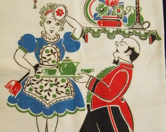 Vintage Kitchen Dish Towel with Maid and Butler