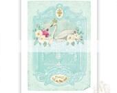 Swan, print, vintage style, home decor, white swan, French, blue, white roses, fleur de lis, romantic, wall art, giclee, A4 print
