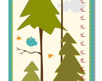 Custom Growth Chart Nursery - Woodland Moon Fox Growth Chart - Canvas Growth Chart