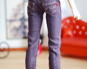 Classic straight leg purple denim jeans - Luts Delf girl SD BJD clothes