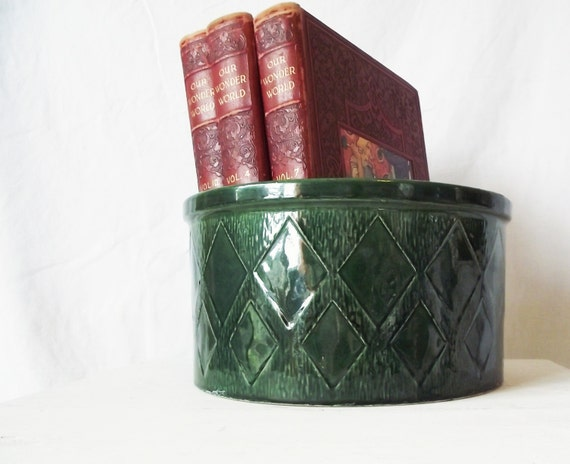Vintage Sondgen Keramik German Pottery Crock - Emerald Green - Christmas Tree Stand
