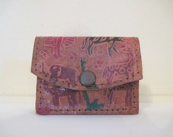 Bohemian Chic, 1980s Hand Tooled WILD ANIMALS Leather Change Purse, made in India