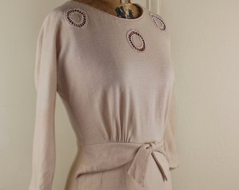vintage 1950s Peplum Waisted Bombshell Party Dress