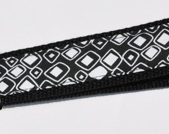 Whimsy White Solid and Lined Diamonds on Black Heavy Duty Cotton Webbing Wristlet Keychain FOB