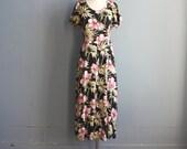 vintage floral dress / tropical floral dress / medium