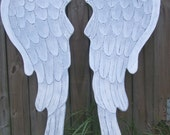 Wooden Carved Angel Wings In Lacey 36 inches Distressed Grey, White and Pearl Sheen Wall Hanging
