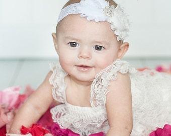 Baby Christening Headband..Newborn White Christening Headband.. Off White Pearls and Lace Double White Frayed Headband..Headband