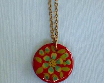 Floral Pendant Necklace Vintage