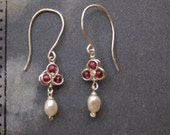 Garnet Pearl Earrings Robin's Nest Gold or Silver January Lightweight Earrings Delicate Handmade Gemstone Jewelry