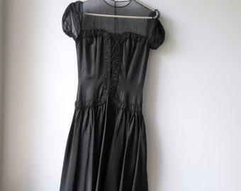 Vintage 1940s Dress . Illusion Dress . 40s Black Dress .  Full Skirt Swing Dress