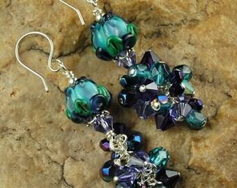 Teal Lavender Rose EarringTutorial, Earring Tutorial, Beaded Tutorial 470 by CC Design