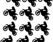 Dirt Bike Birthday Party decals - Twelve Motorcycle vinyl decals, Dirt bike, birthday decor, Small stickers, Boys party favors, kids sports