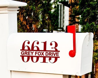 Personalized Outdoor Mailbox Vinyl Decals SET Custom Address street sign for Each side of Box
