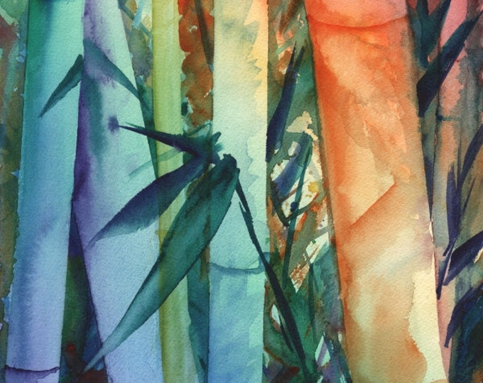 Bamboo art prints, 8x10 giclee art, rainbow bamboo, colorful paintings, kauai maui oahu hawaii, japanese asian zen, whimsical print
