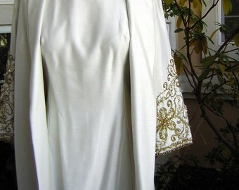 """Jewel Encrusted Long White Evening Gown & Coat Vintage 60s Elegant - Bust 36"""" Small"""
