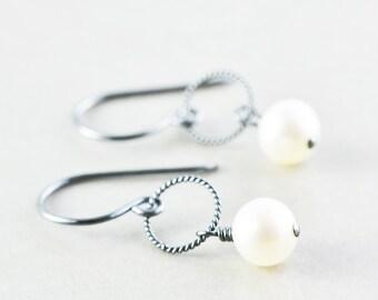 Pearl Earrings, June Birthstone Earrings, White Pearl Earrings
