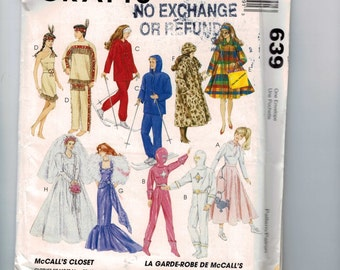 Doll Sewing Pattern McCalls 639 11 1/2 or 12 1/2 Inch Doll Barbie Ken Bride Wedding Dress Indian  Poodle Skirt Evening Gown UNCUT 1990s  99