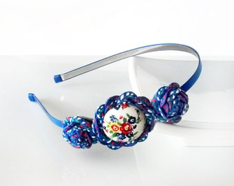 Blue Calico - HEADBAND - ric rac rosettes, covered button - blue, white