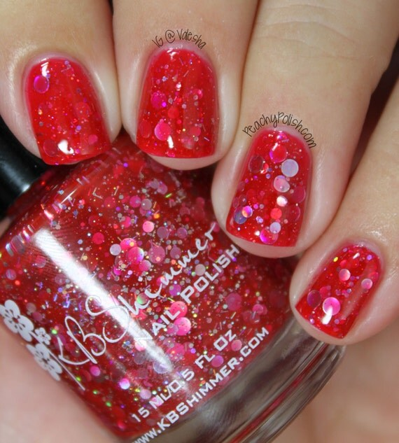 Vicious Circles Cherry Red Holographic Circle Nail Polish
