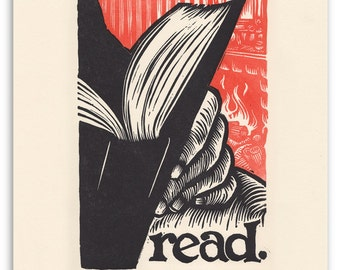 read.  an 11x14 letterpress print.