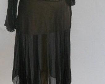 Silk Chiffon Handkerchief Hem Skirt