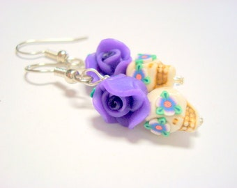 Tiny Purple Day of the Dead Sugar Skull and Rose Earrings