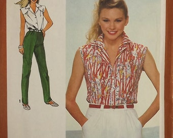 Vintage 80's Sewing Pattern, Misses' Shirt, Wide Leg Shorts, Pants, Size 14
