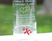 Engraved Glass Vase Unity Candle Holder, Hearts, Removable SWAROVSKI Crystal Flower Decoration Love Candle CUSTOM PERSONALIZED Wedding Decor