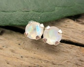 Rainbow Moonstone Stud Earrings in Gold, Silver, Platinum with Genuine Gems, 4mm - Free Gift Wrapping