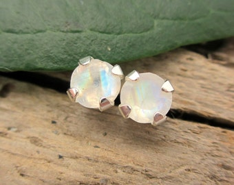 Rainbow Moonstone Stud Earrings in Gold, Silver, Platinum, or Palladium with Genuine Gems, 4mm - Free Gift Wrapping
