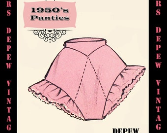 Vintage Sewing Pattern 1950's Ruffle Panties in Any Size - PLUS Size Included - Depew 7314b -INSTANT DOWNLOAD-