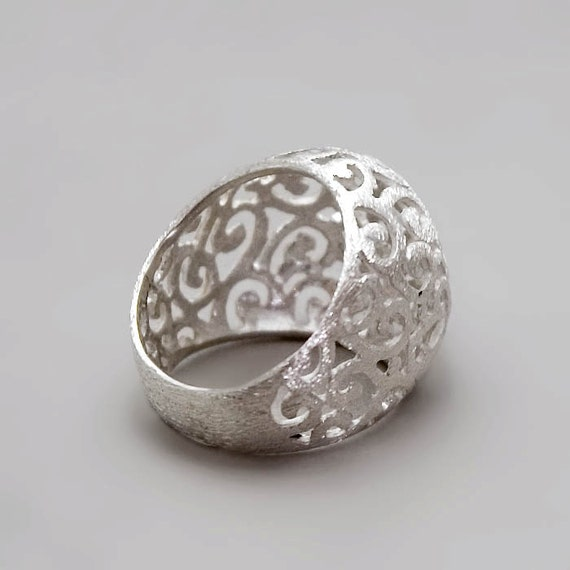 silver filigree ring sterling silver ring unique by