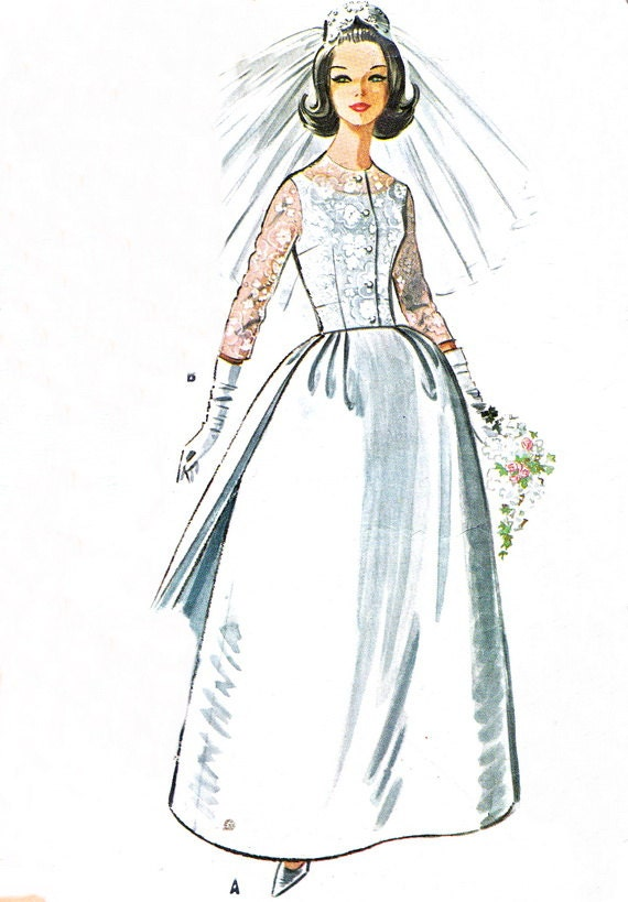 1960s wedding dress pattern mccalls 6605 full skirt by for Wedding dress patterns mccalls