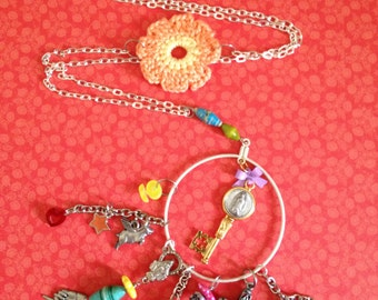 Religious Art Assemblage Long OOAK Necklace with Our Lady of Guadalupe Key