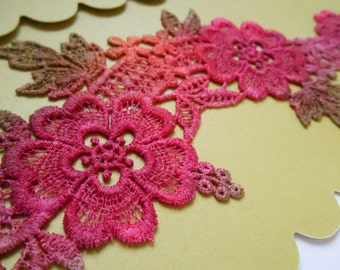 Hand Dyed Lace Motif Orange/Red/Pink