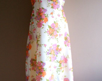 1960's Floral Chiffon 2 Piece Summer Party Maxi Dress