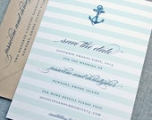 Josseline Nautical Wedding Save the Date Sample - Anchor with Aqua Ombre Stripes
