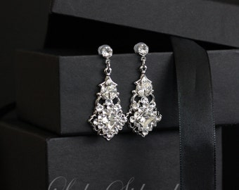 Bridal Earrings Small Swarovski Crystal Earrings Art Deco Style Wedding Jewelry KATRINA