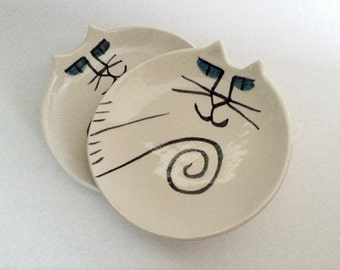 Ceramic cat pottery dish set 2: HM by potter decor dish unique functional plate stacking white black collectible cat lover gift kitty feeder