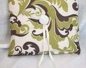 Ring Bearer Pillow - Ivory, Olive, Brown Foliage Print