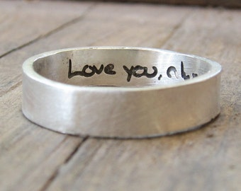 Personalized Ring - ACTUAL Handwriting Jewelry - Engraved Silver Wedding Band - Memorial Jewelry