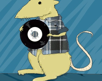 Mouse with vinyl illustration square postcard with envelope made for record store day