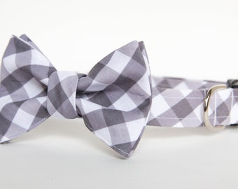 Bowtie Dog Collar - Grey Gingham Check