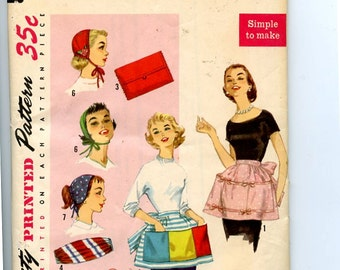 Simplicity 1810 Vintage 1950s Simple to Make Pattern for Apron,  Baby Doll Cap, Ponytail Hat, Clutch Bag, Cummerbund & Slippers  One Size