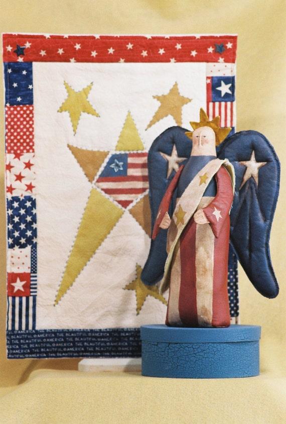 Cloth Doll E-Pattern  Folk art Americana Doll & Quilt