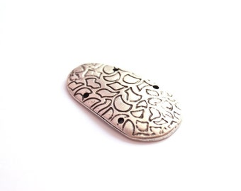 2pcs Matte Silver Plated Strange shape pendant, connector-42x20mm (413-025SP)