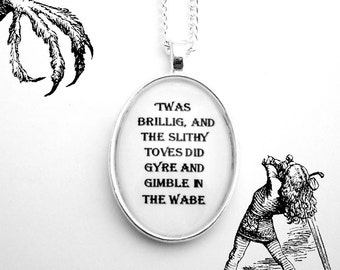 Alice In Wonderland Jabberwocky Poem Silver Pendant Necklace